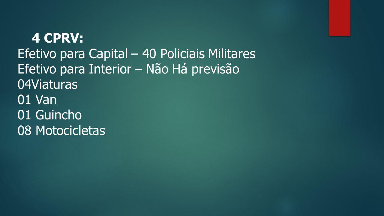 4 CPRV: Efetivo para Capital – 40 Policiais Militares Efetivo para Interior – Não Há previsão 04Viaturas 01 Van 01 Guincho 08 Motocicletas