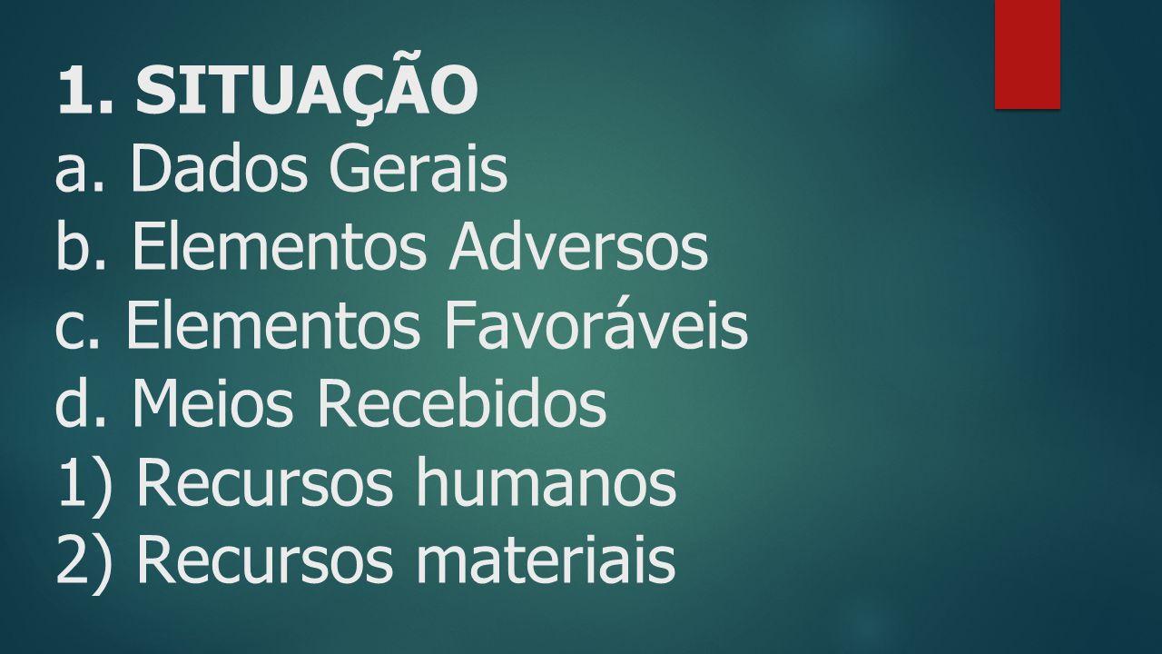 1.SITUAÇÃO a. Dados Gerais b. Elementos Adversos c.