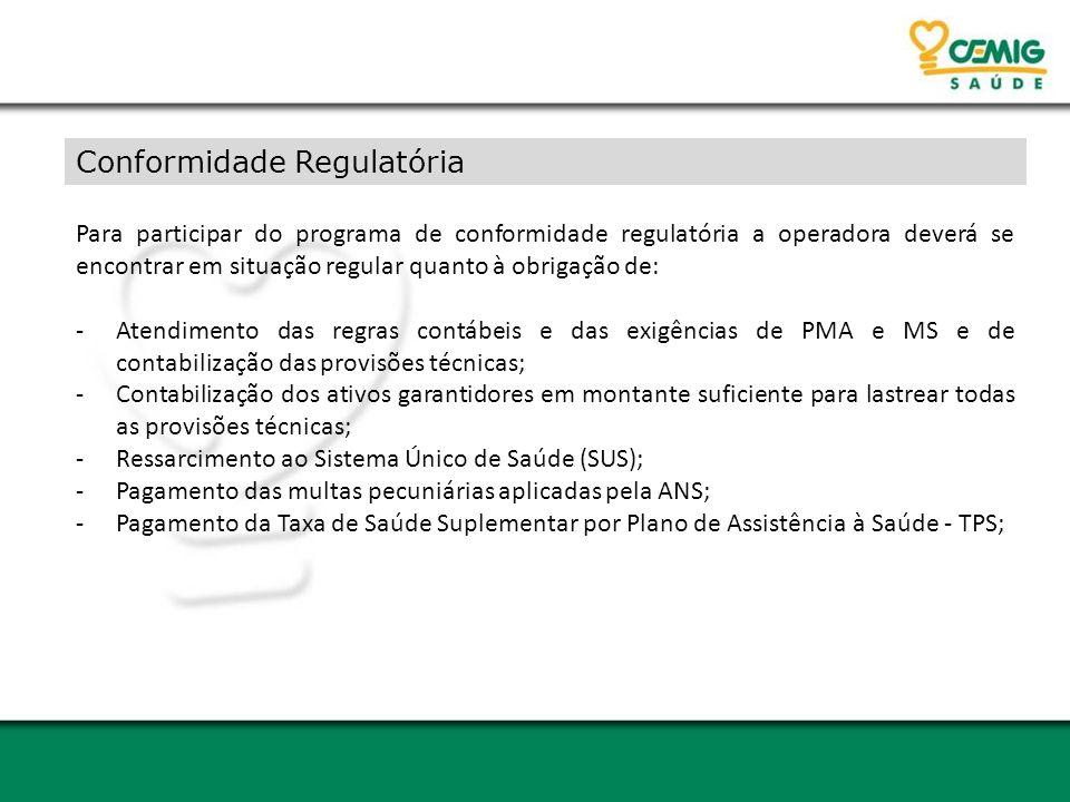 Conformidade Regulatória Para participar do programa de conformidade regulatória a operadora deverá se encontrar em situação regular quanto à obrigaçã
