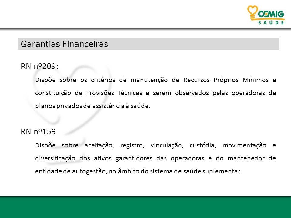 Garantias Financeiras RN nº209: Dispõe sobre os critérios de manutenção de Recursos Próprios Mínimos e constituição de Provisões Técnicas a serem obse