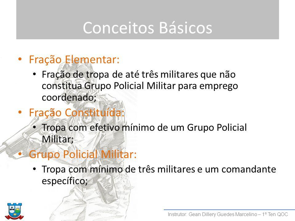 Conceitos Básicos Fração Elementar: Fração de tropa de até três militares que não constitua Grupo Policial Militar para emprego coordenado; Fração Con