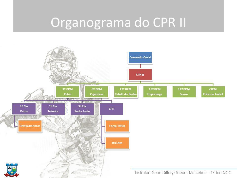 Organograma do CPR II Comando Geral CPR II 3º BPM Patos 1ª Cia Patos Destacamentos 2ª Cia Teixeira 3ª Cia Santa Luzia CPE Força Tática ROTAM 6º BPM Ca