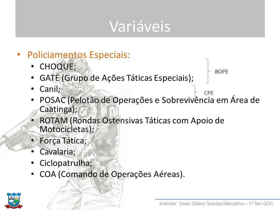 Variáveis Policiamentos Especiais: CHOQUE; GATE (Grupo de Ações Táticas Especiais); Canil; POSAC (Pelotão de Operações e Sobrevivência em Área de Caat