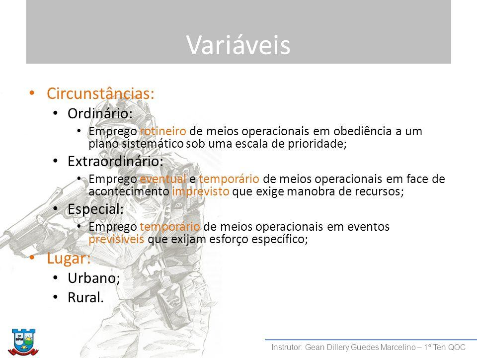 Variáveis Circunstâncias: Ordinário: Emprego rotineiro de meios operacionais em obediência a um plano sistemático sob uma escala de prioridade; Extrao