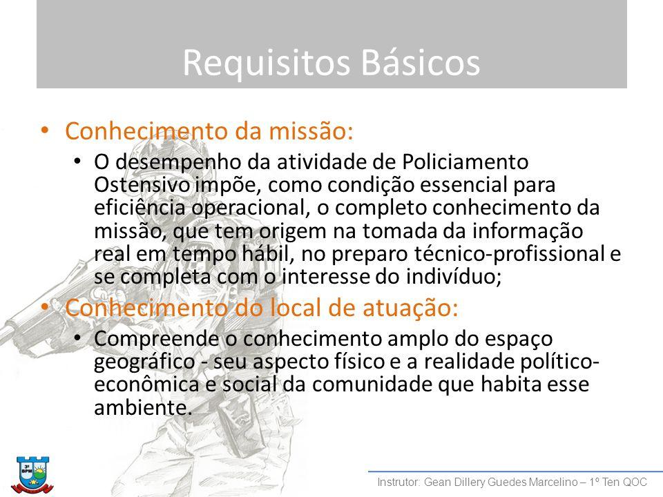 Requisitos Básicos Conhecimento da missão: O desempenho da atividade de Policiamento Ostensivo impõe, como condição essencial para eficiência operacio