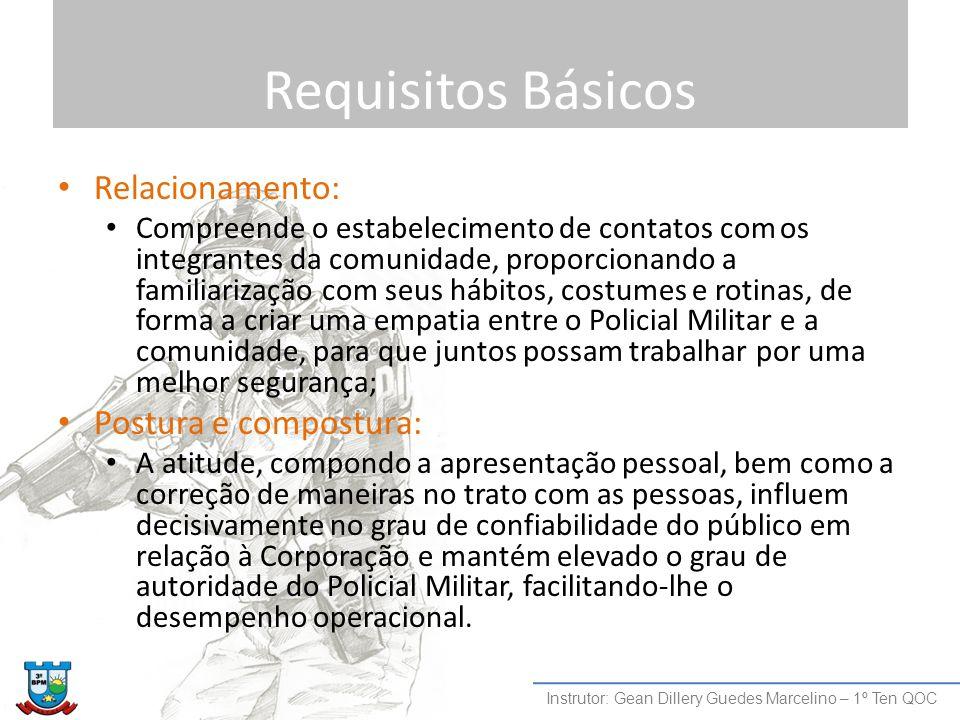Requisitos Básicos Relacionamento: Compreende o estabelecimento de contatos com os integrantes da comunidade, proporcionando a familiarização com seus