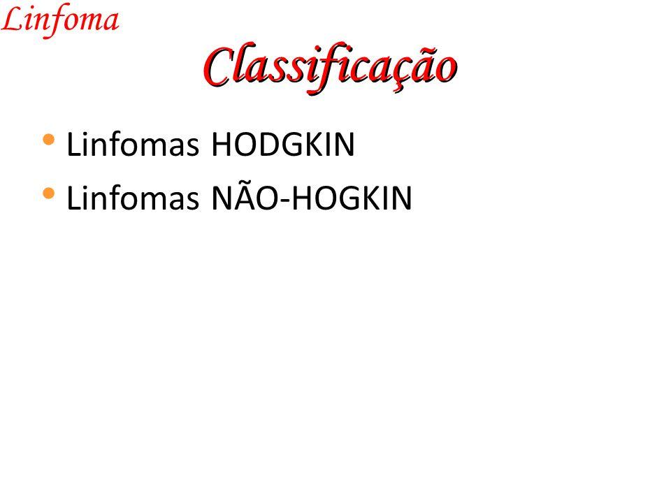 Classificação Linfoma Linfomas HODGKIN Linfomas NÃO-HOGKIN