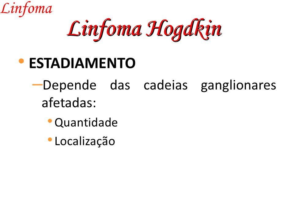 Linfoma Hogdkin Linfoma ESTADIAMENTO – Depende das cadeias ganglionares afetadas: Quantidade Localização