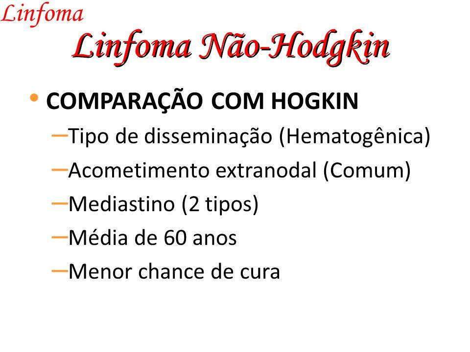 Linfoma Não-Hodgkin Linfoma COMPARAÇÃO COM HOGKIN – Tipo de disseminação (Hematogênica) – Acometimento extranodal (Comum) – Mediastino (2 tipos) – Média de 60 anos – Menor chance de cura