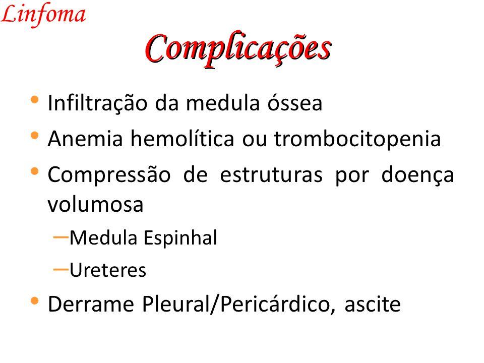 Complicações Linfoma Infiltração da medula óssea Anemia hemolítica ou trombocitopenia Compressão de estruturas por doença volumosa – Medula Espinhal – Ureteres Derrame Pleural/Pericárdico, ascite