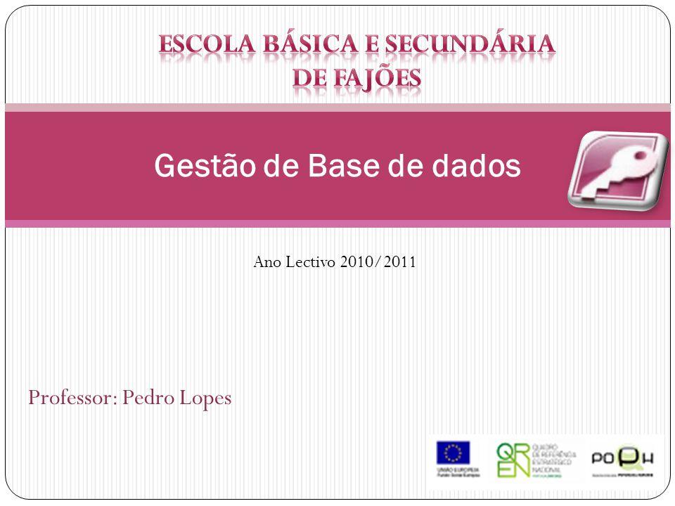 Professor: Pedro Lopes Gestão de Base de dados Ano Lectivo 2010/2011