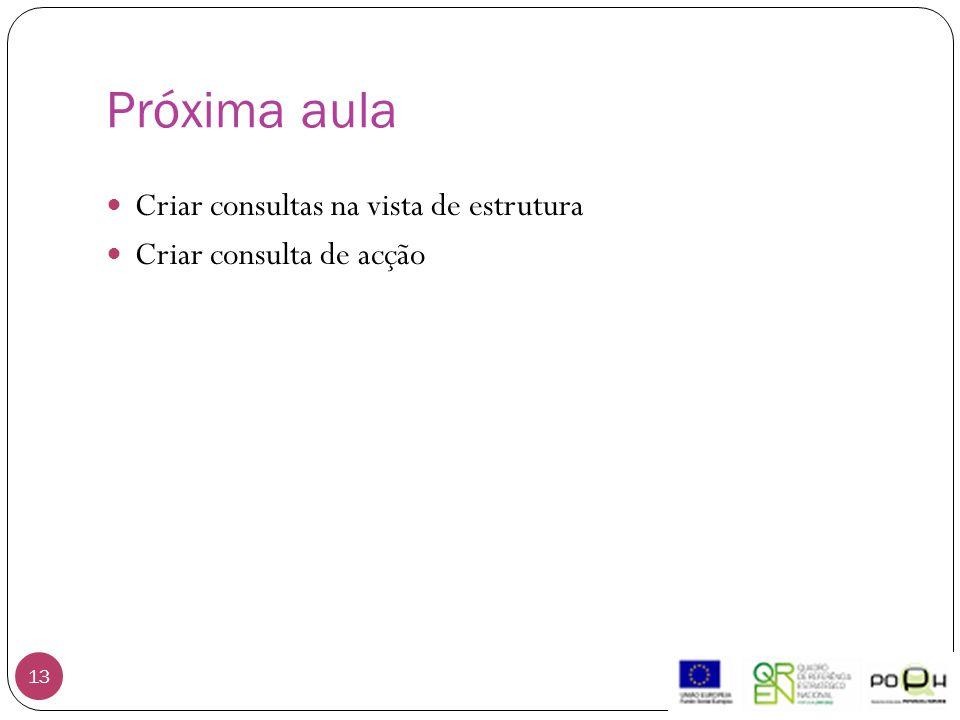 Próxima aula 13 Criar consultas na vista de estrutura Criar consulta de acção