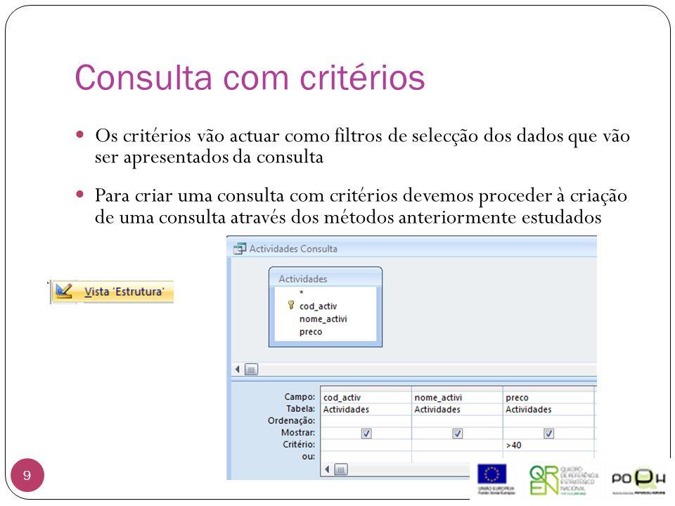 Consulta com critérios 9 Os critérios vão actuar como filtros de selecção dos dados que vão ser apresentados da consulta Para criar uma consulta com critérios devemos proceder à criação de uma consulta através dos métodos anteriormente estudados