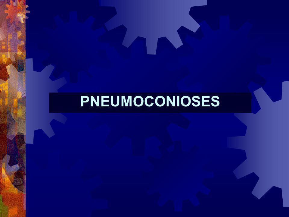 Pneumoconioses Agressão inalatória Macrófago NK Activação de células inflamatórias e estruturais locorregionais Activação e quimiotaxia de neutrófilos Activação e quimiotaxia de linfócitos T e B Produção de citocinas, imunoglobulinas e outros mediadores inflamatórios Estimulação fibroblástica e produção de colagénio Libertação de enzimas proteolíticas e oxidantes Agressão pulmonar e fibrogénese