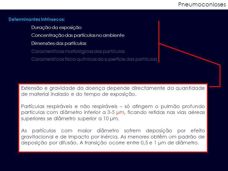 Pneumoconioses Determinantes Intrínsecos: Duração da exposição Concentração das partículas no ambiente Dimensões das partículas Características morfol