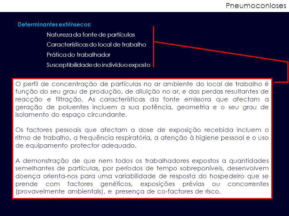 Determinantes extrínsecos: Natureza da fonte de partículas Características do local de trabalho Prática do trabalhador Susceptibilidade do indivíduo e