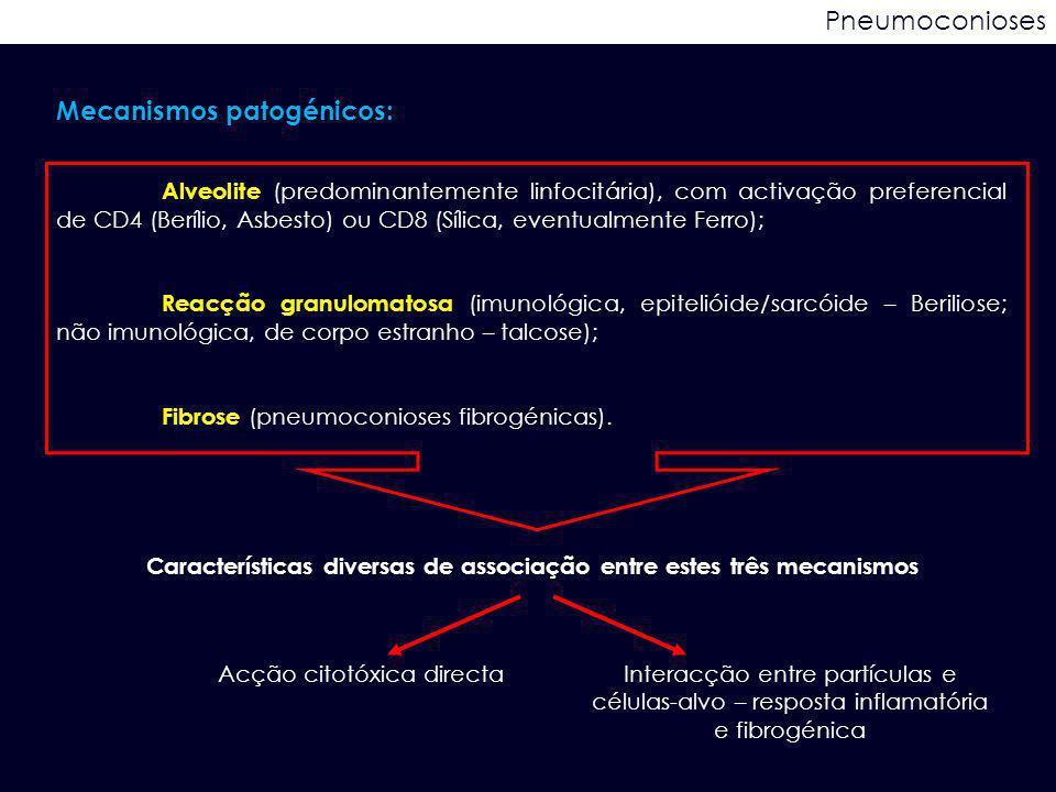 Pneumoconioses Mecanismos patogénicos: Alveolite (predominantemente linfocitária), com activação preferencial de CD4 (Berílio, Asbesto) ou CD8 (Sílica