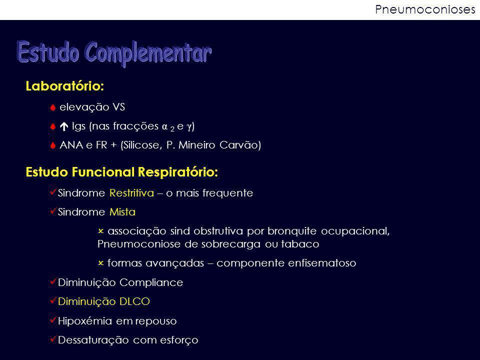 Pneumoconioses Laboratório:  elevação VS   Igs (nas fracções α 2 e γ )  ANA e FR + (Silicose, P. Mineiro Carvão) Estudo Funcional Respiratório: Si