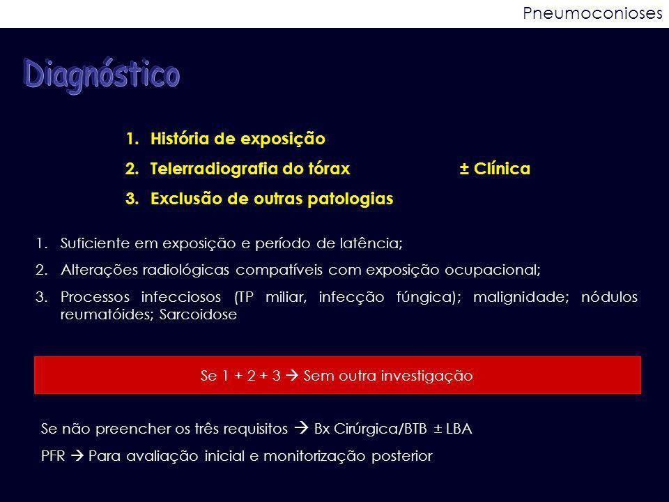 Pneumoconioses 1.História de exposição 2.Telerradiografia do tórax± Clínica 3.Exclusão de outras patologias 1.Suficiente em exposição e período de lat