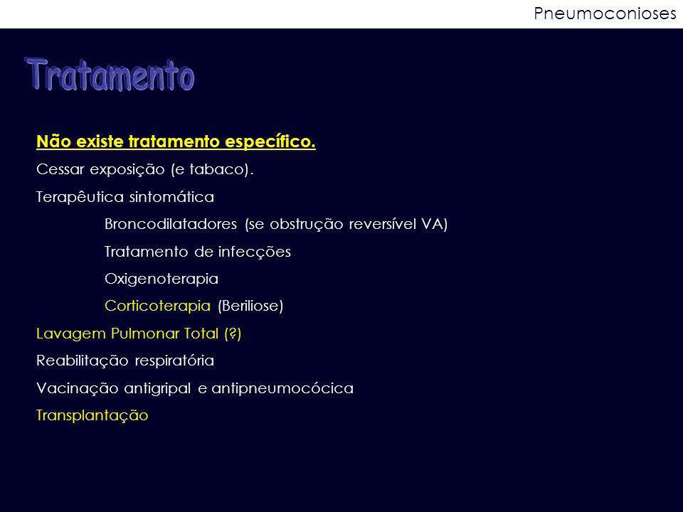 Pneumoconioses Não existe tratamento específico. Cessar exposição (e tabaco). Terapêutica sintomática Broncodilatadores (se obstrução reversível VA) T