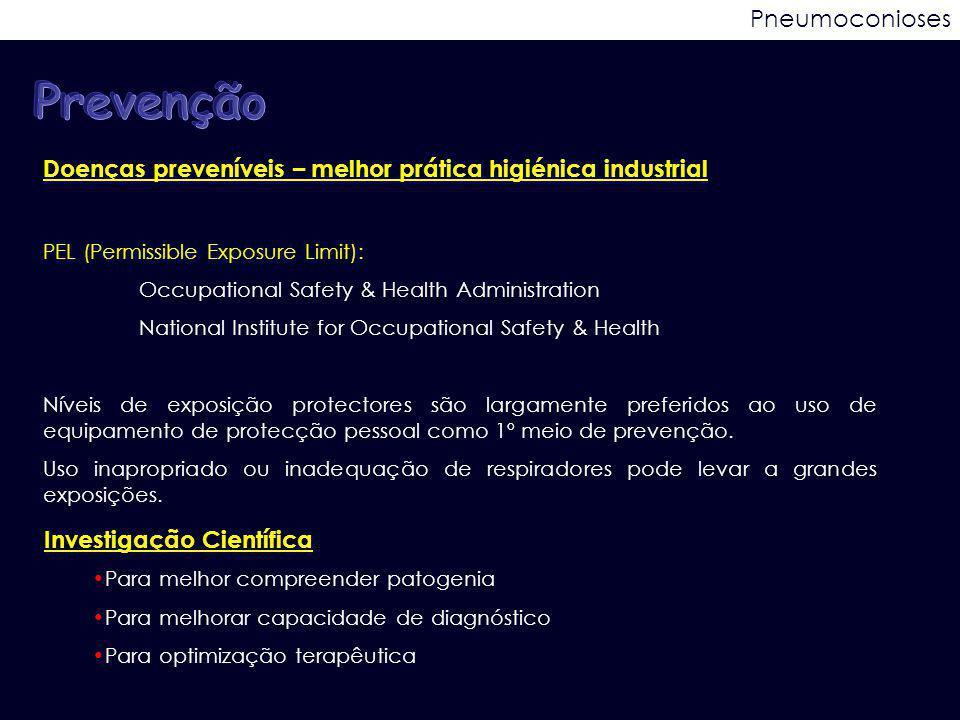 Pneumoconioses Doenças preveníveis – melhor prática higiénica industrial PEL (Permissible Exposure Limit): Occupational Safety & Health Administration