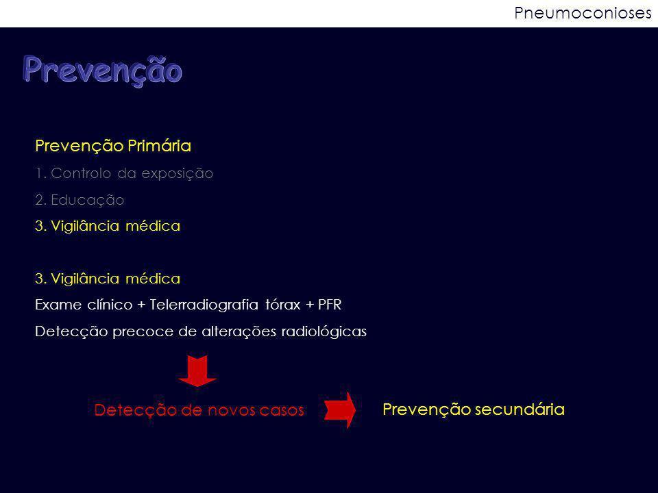 Pneumoconioses Prevenção Primária 1. Controlo da exposição 2. Educação 3. Vigilância médica Exame clínico + Telerradiografia tórax + PFR Detecção prec