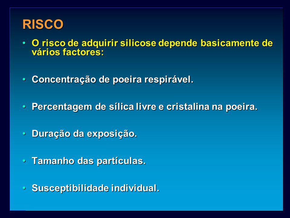 RISCO O risco de adquirir silicose depende basicamente de vários factores:O risco de adquirir silicose depende basicamente de vários factores: Concent