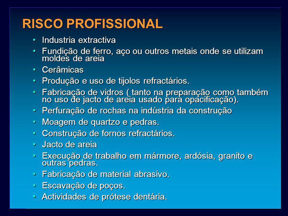 RISCO PROFISSIONAL Industria extractivaIndustria extractiva Fundição de ferro, aço ou outros metais onde se utilizam moldes de areiaFundição de ferro,