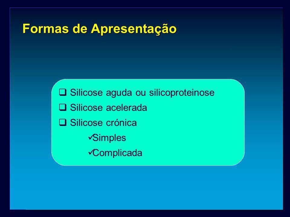 Formas de Apresentação  Silicose aguda ou silicoproteinose  Silicose acelerada  Silicose crónica Simples Complicada