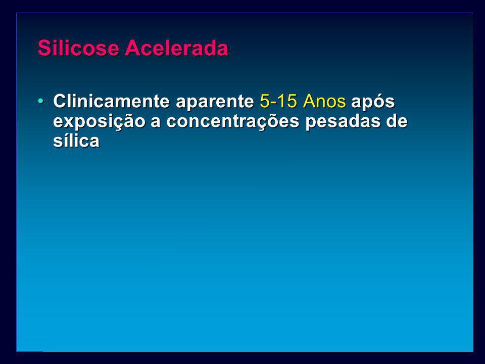 Silicose Acelerada Clinicamente aparente 5-15 Anos após exposição a concentrações pesadas de sílicaClinicamente aparente 5-15 Anos após exposição a co