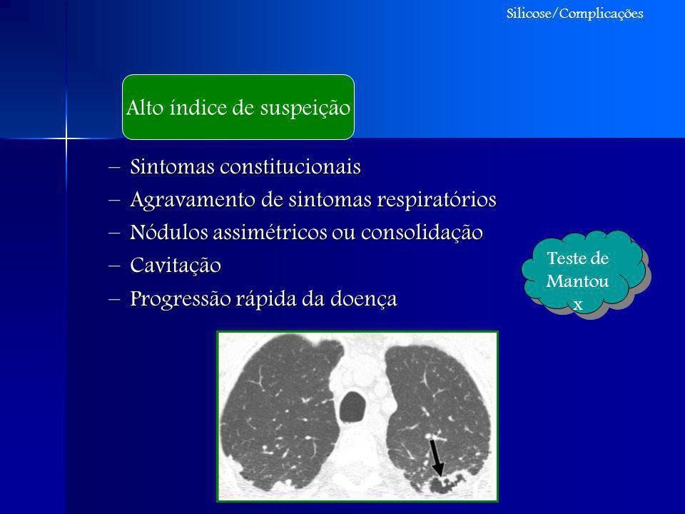 –Sintomas constitucionais –Agravamento de sintomas respiratórios –Nódulos assimétricos ou consolidação –Cavitação –Progressão rápida da doença Alto ín