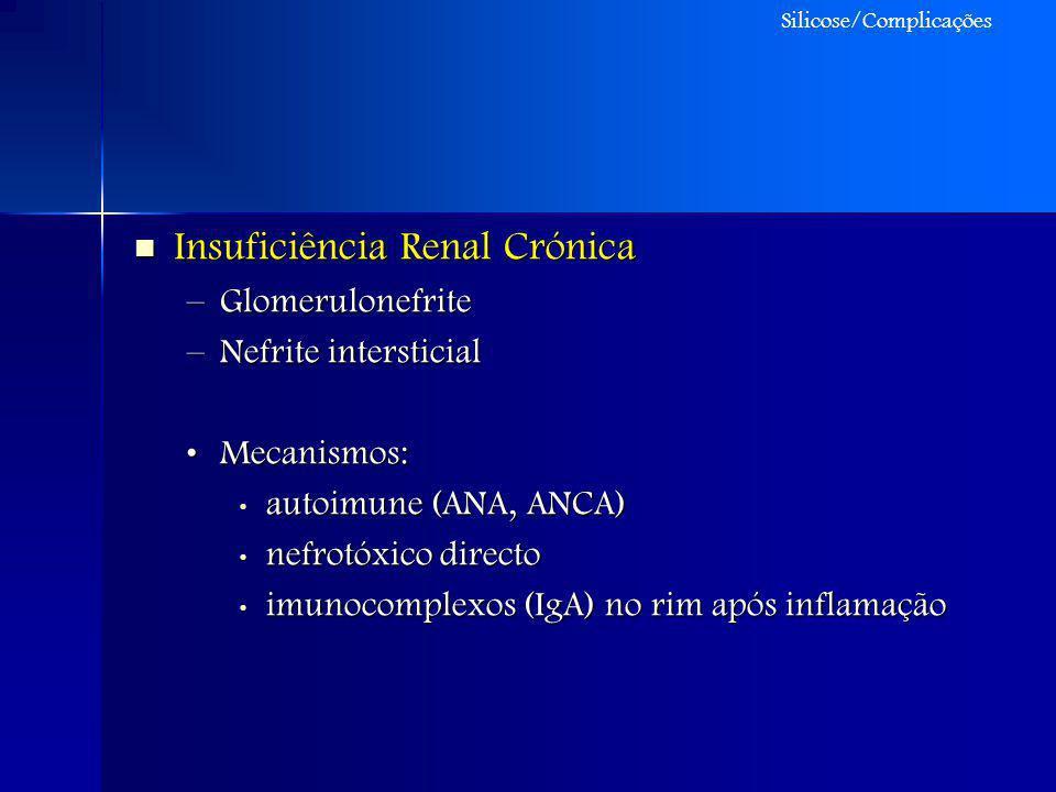 Insuficiência Renal Crónica Insuficiência Renal Crónica –Glomerulonefrite –Nefrite intersticial Mecanismos:Mecanismos: autoimune (ANA, ANCA) autoimune