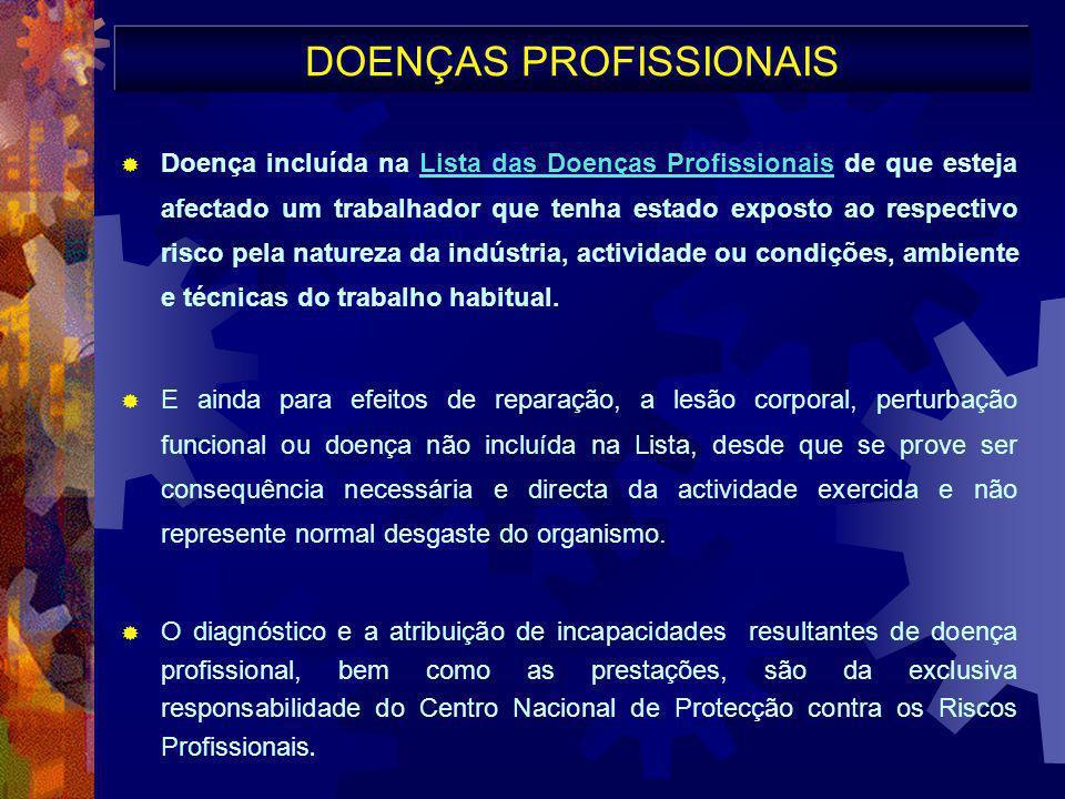 DOENÇAS PROFISSIONAIS  Doença incluída na Lista das Doenças Profissionais de que esteja afectado um trabalhador que tenha estado exposto ao respectiv