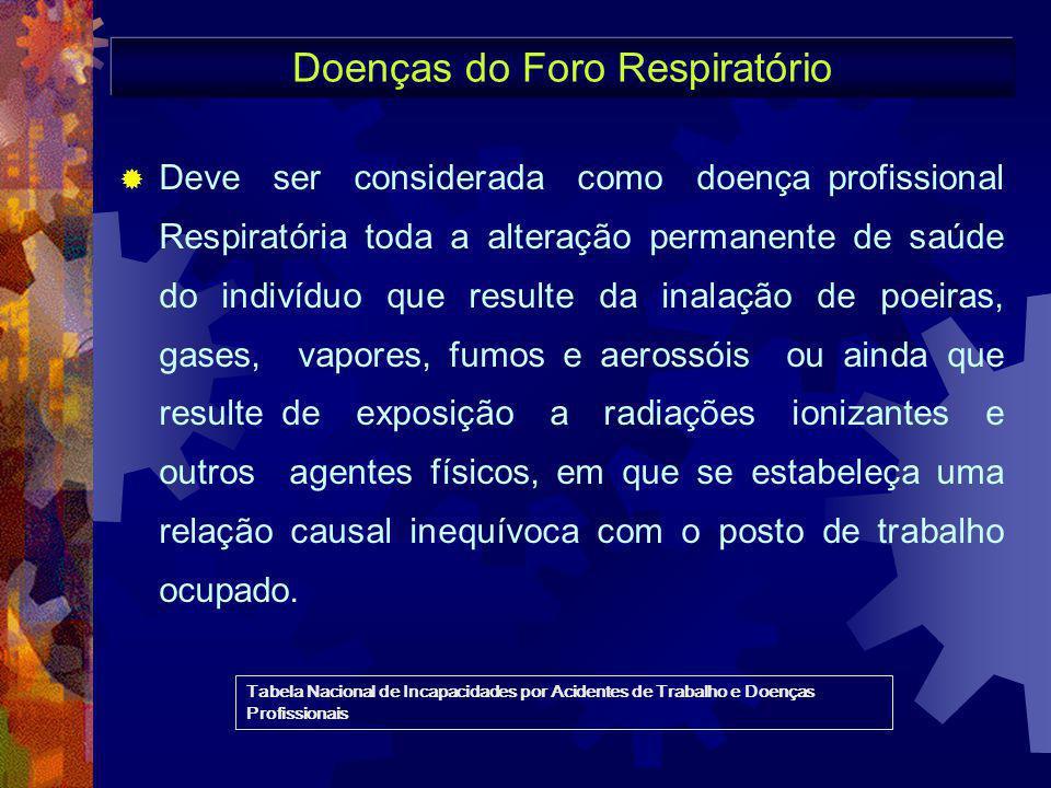 Doenças do Foro Respiratório  Deve ser considerada como doença profissional Respiratória toda a alteração permanente de saúde do indivíduo que result