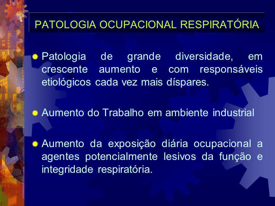 PATOLOGIA OCUPACIONAL RESPIRATÓRIA  Patologia de grande diversidade, em crescente aumento e com responsáveis etiológicos cada vez mais díspares.  Au
