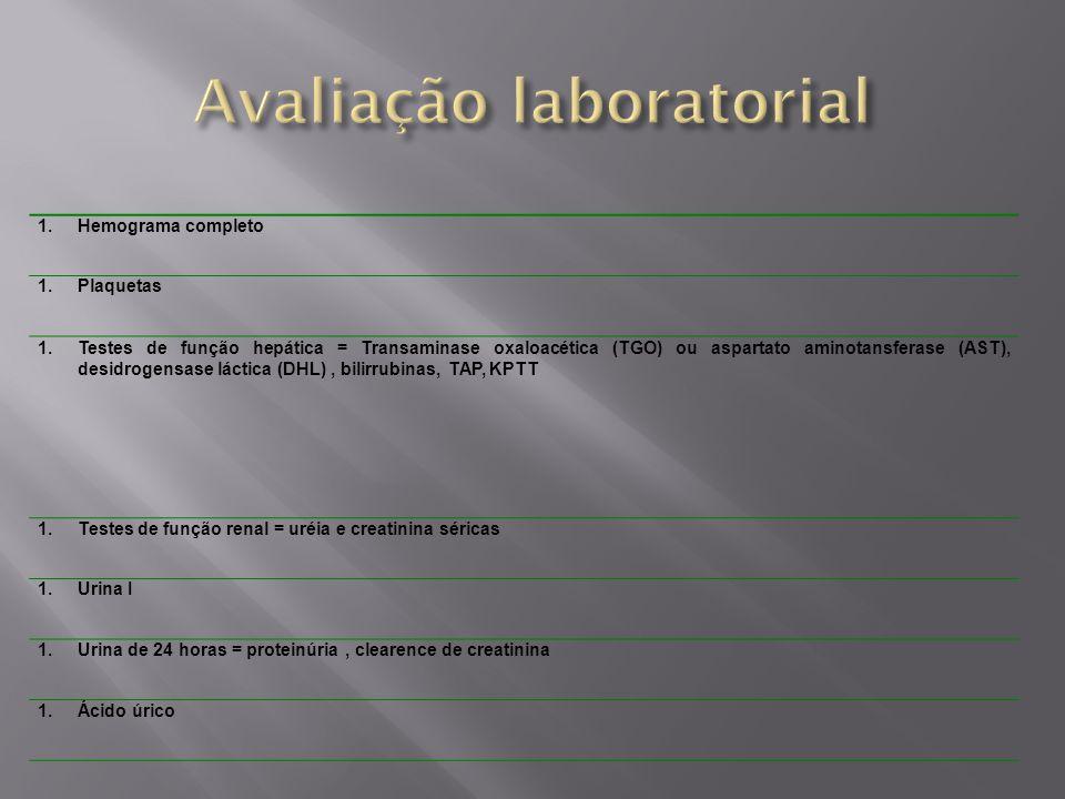 1.Hemograma completo 1.Plaquetas 1.Testes de função hepática = Transaminase oxaloacética (TGO) ou aspartato aminotansferase (AST), desidrogensase láct