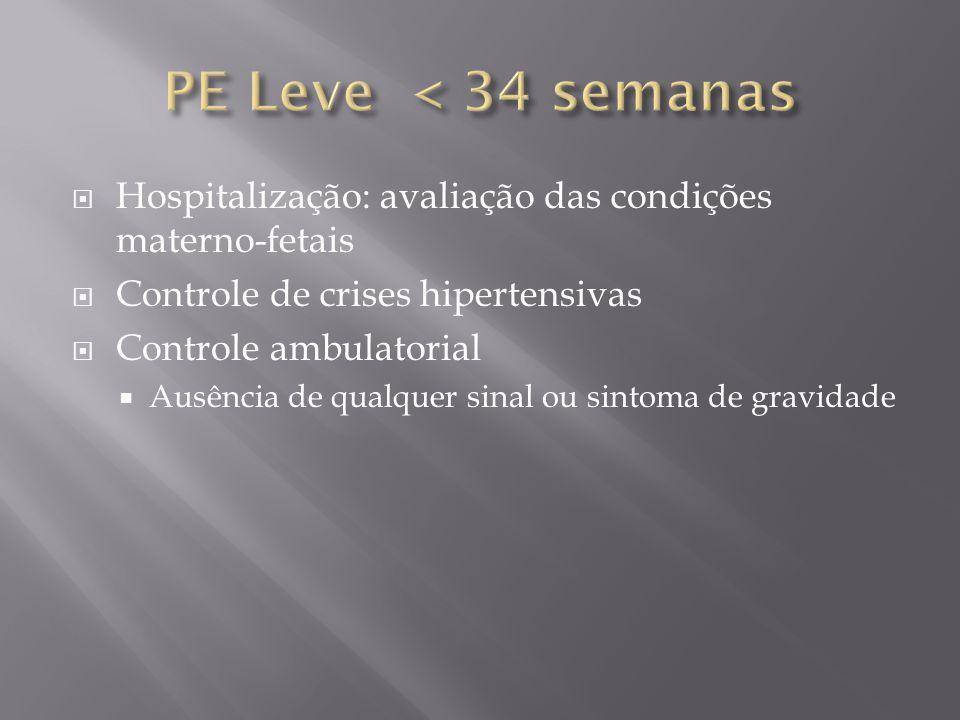  Hospitalização: avaliação das condições materno-fetais  Controle de crises hipertensivas  Controle ambulatorial  Ausência de qualquer sinal ou si