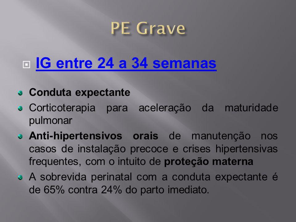 IG entre 24 a 34 semanas Conduta expectante Corticoterapia para aceleração da maturidade pulmonar Anti-hipertensivos orais de manutenção nos casos d