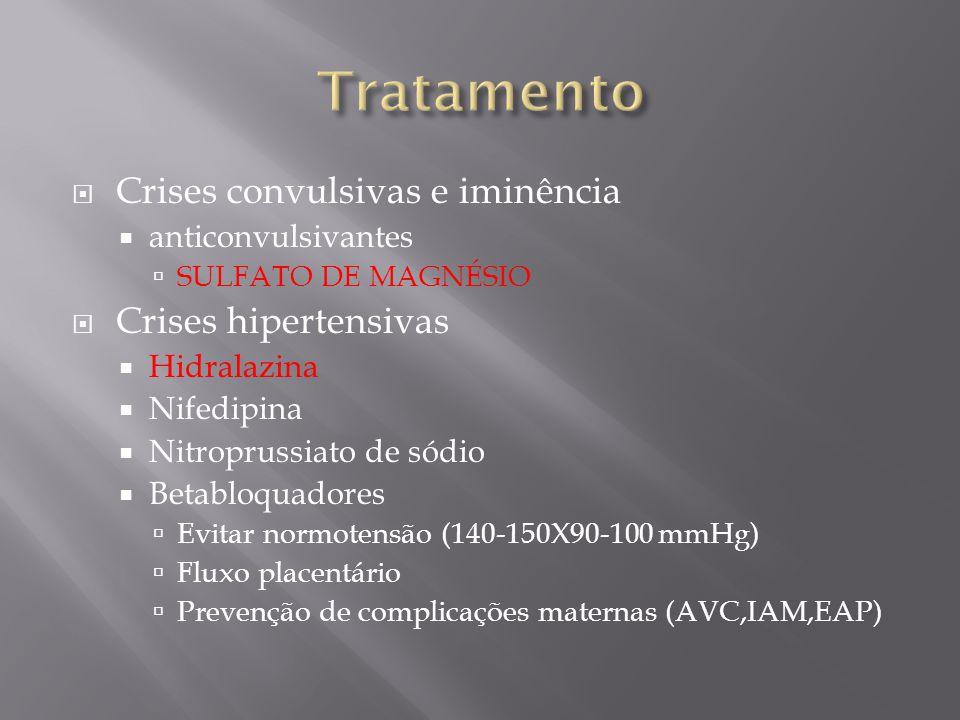  Crises convulsivas e iminência  anticonvulsivantes  SULFATO DE MAGNÉSIO  Crises hipertensivas  Hidralazina  Nifedipina  Nitroprussiato de sódi