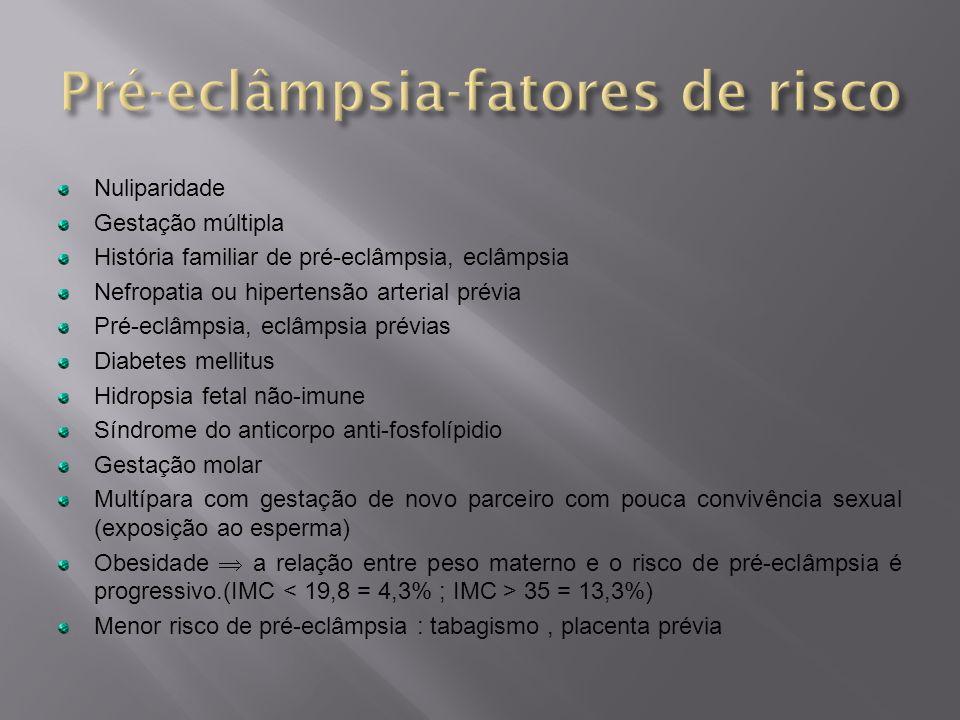 Nuliparidade Gestação múltipla História familiar de pré-eclâmpsia, eclâmpsia Nefropatia ou hipertensão arterial prévia Pré-eclâmpsia, eclâmpsia prévia