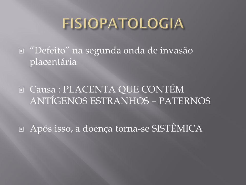 """ """"Defeito"""" na segunda onda de invasão placentária  Causa : PLACENTA QUE CONTÉM ANTÍGENOS ESTRANHOS – PATERNOS  Após isso, a doença torna-se SISTÊMI"""