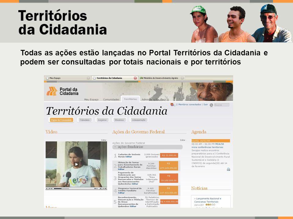 Todas as ações estão lançadas no Portal Territórios da Cidadania e podem ser consultadas por totais nacionais e por territórios