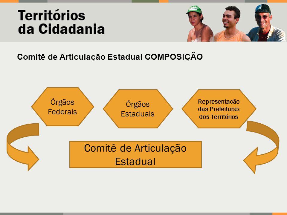 Comitê de Articulação Estadual COMPOSIÇÃO Órgãos Federais Órgãos Estaduais Comitê de Articulação Estadual Representacão das Prefeituras dos Território