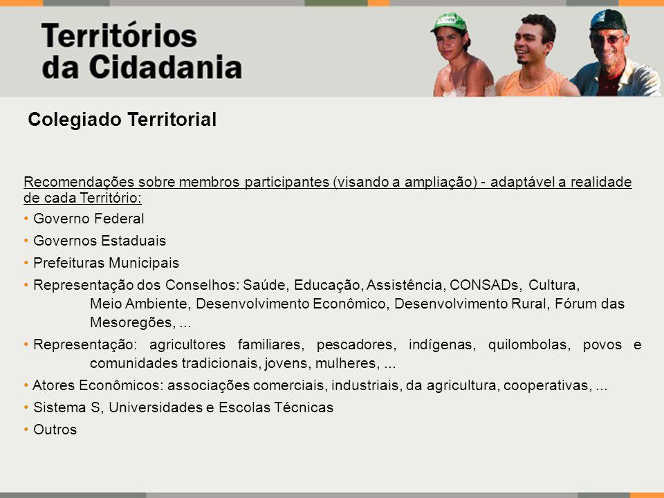 Colegiado Territorial Recomendações sobre membros participantes (visando a ampliação) - adaptável a realidade de cada Território: Governo Federal Gove