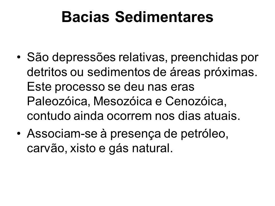 Bacias Sedimentares São depressões relativas, preenchidas por detritos ou sedimentos de áreas próximas. Este processo se deu nas eras Paleozóica, Meso