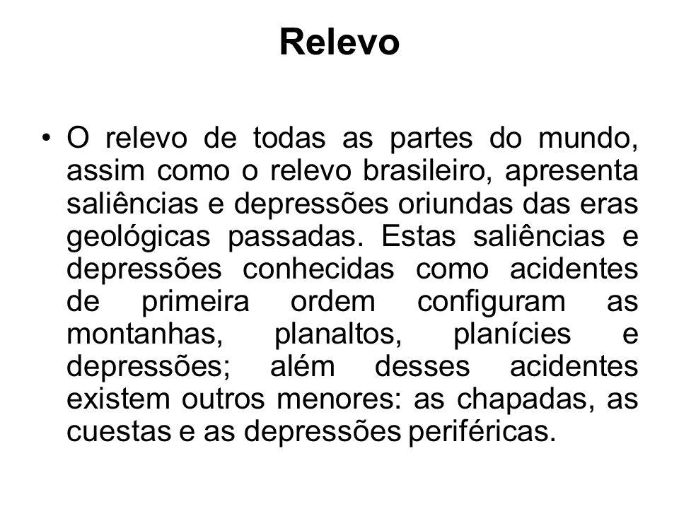 Relevo O relevo de todas as partes do mundo, assim como o relevo brasileiro, apresenta saliências e depressões oriundas das eras geológicas passadas.