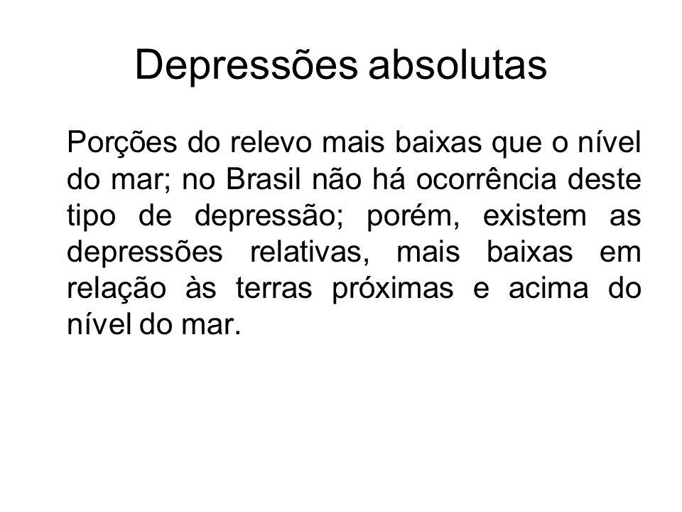 Depressões absolutas Porções do relevo mais baixas que o nível do mar; no Brasil não há ocorrência deste tipo de depressão; porém, existem as depressõ