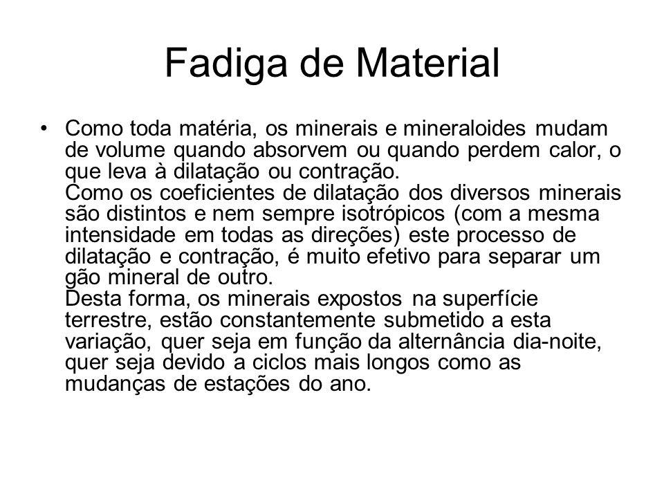 Fadiga de Material Como toda matéria, os minerais e mineraloides mudam de volume quando absorvem ou quando perdem calor, o que leva à dilatação ou con