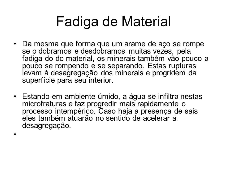 Fadiga de Material Da mesma que forma que um arame de aço se rompe se o dobramos e desdobramos muitas vezes, pela fadiga do do material, os minerais t