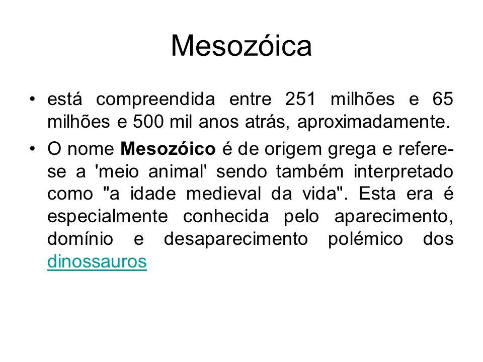 Mesozóica está compreendida entre 251 milhões e 65 milhões e 500 mil anos atrás, aproximadamente. O nome Mesozóico é de origem grega e refere- se a 'm
